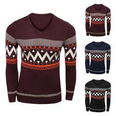 La onda de la raya de mens que imprime el suéter del cuello de pico de moda manga larga encaja el jersey escaso