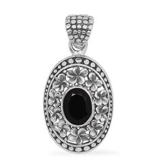 Royal Bali Collection Thai Black Spinel (Ovl) Pendant without Chain in Sterling Silver Nickel Free TGW 1.540 cts.