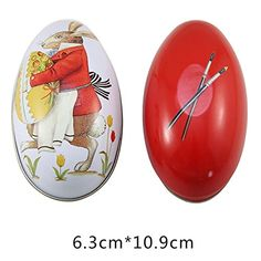 Colorful Tin Box with Easter Egg Shape