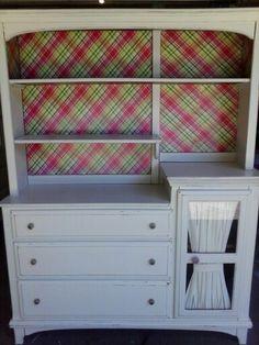 Dresser&hutch redo w/wht distressed.decoupage