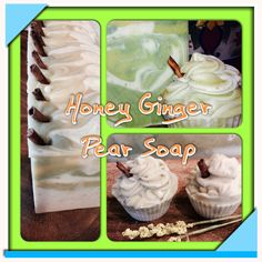 Goat Milk Soap -Honey Ginger Pear! Both bars and cupcakes! www.floridasoapberryco.com