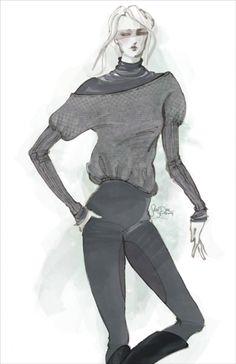 Fashion illustration - grey medieval sweater, fashion drawing // Sarah Dahl