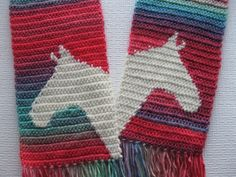 Colorful horse scarf. Crochet scarf with ivory horse by hooknsaw