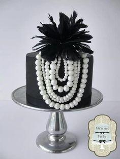 ~ Elegant Single Tiered Black and White Cake ~Breakfast at Tiffanys Shower Cake
