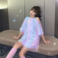Edgy Outfits, Korean Outfits, Pretty Outfits, Cute Outfits, Girls Fashion Clothes, Teen Fashion Outfits, Fashion Dresses, Clothes For Women, Kawaii Fashion