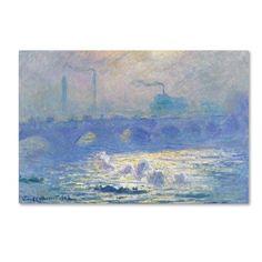 Trademark Fine Art 'Waterloo Bridge' Canvas Art by Monet, Blue