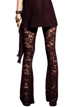Pink Wind Laides Penoy Flare Lace Leggings Pants Bell Bottoms Bohemian Mesh at Amazon Women's Clothing store: