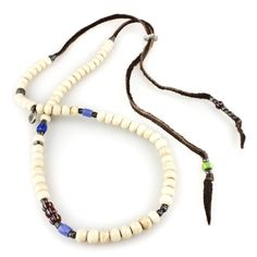 Stacked African Glass Carved Silver Bead Detail Necklace from M. Cohen Designs