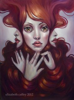 Paintings of Women Faces | ... art painting by Elizabeth Caffey of a redhead woman with three faces