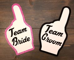 Photobooth Props 2 Piece Team Bride Team by HullabalooCreations