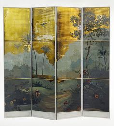 verre eglomise Raymond Goins.  Reverse painted by hand depicting a stylized scenic of the Amazon, then silvered for reflective light as a background for the sky and water.    Frame is solid wood, hand glazed. Inlaid gilt divisions between panels.