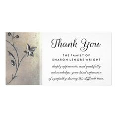 Shop Thank You Simplicity Sympathy Card created by Personalize it with photos & text or purchase as is! Brain Busters, Sympathy Cards, Photo Cards, Place Card Holders, Greeting & Note Cards