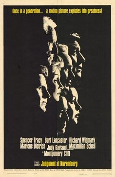 Judgement at Nuremberg (1961) Stars Spencer Tracy as American judge Dan Haywood, who's chosen to guide a 1948 tribunal that's trying Germans suspected of engaging in atrocities during World War II. Against the backdrop of the Cold War, Haywood must obtain justice in a case with raised stakes and mixed emotions. Spencer Tracy, Burt Lancaster, Richard Widmark...14b