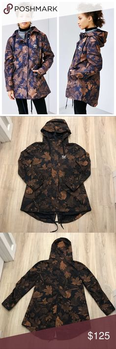 ADIDAS CAMOUFLAGE LEAF PARKA JACKET Women's size extra small.  Fits more like a small/medium.  Very rare. Only one on Posh.  Worn with zero flaws. adidas Jackets & Coats Trench Coats