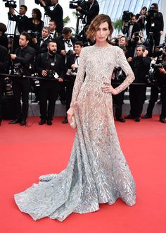 Nieves Alvarez wears ELIE SAAB Haute Couture Autumn Winter 2014-15 to the 'Sicario' Premiere during the 68th annual Cannes Film Festival.