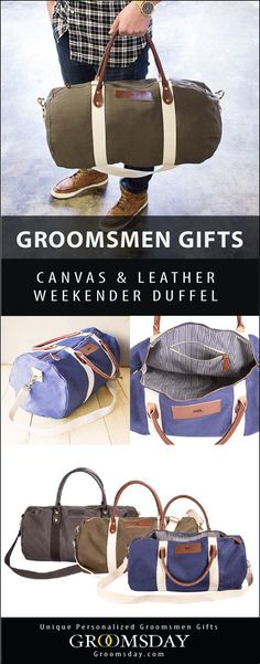 Travel in style like a distinguished gentleman with this sturdy, lightweight canvas bag with leather straps and personalized accents. The stripe interior is pure sophistication. What more convincing would you need to carry this handsome weekender duffel b Best Groomsmen Gifts, Groom And Groomsmen, Groomsman Gifts, Leather Duffle Bag, Duffel Bag, Weekender, Leather Bags, Wedding Ring For Her, Unique Gifts For Men