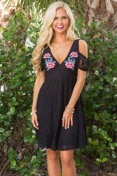 Black Cold Shoulder Floral Embroidery Lace Skater Dress MB220030-2 – ModeShe.com