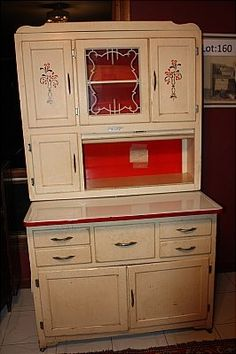 "original metal tag - ""Marsh Highpoint N.C."" - kitchen cabinet w/ original white & red finish"