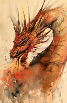 Loose watercolour and ink sketch of dragon