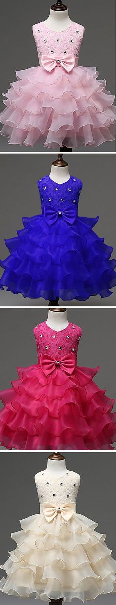 Looking for a special event dress for little princess? How about this> Which color suits her most: pink, blue, ivory or light pink? Get it with OFF till October 3 Cheap Party Dresses, Party Dresses Online, Event Dresses, Little Girl Dresses, Girls Dresses, Summer Dresses, Beige Dresses, Lace Bows, Princess Dresses
