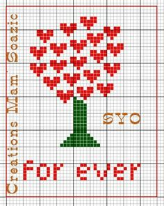 """For ever"" - tree with heart leaves for Valentine's Day - Restes de grilles de la Saint Valentin - Chez Mamigoz"