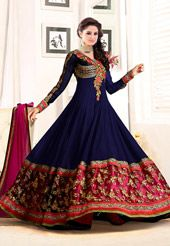 Faux Georgette, full sleeve Semi-stitched Abaya Style Kameez in Dark Blue and…