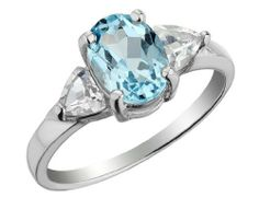 Three Stone Blue and White Topaz Ring 2.0 Carats (ctw) in Sterling Silver -