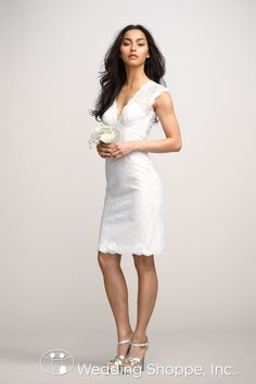 Short lace dress perfect for an informal wedding or rehearsal dinner.