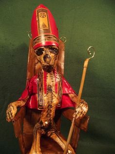 Day of Dead Cardinal Figure Horror Poppet Voodoo Doll Statue Gothic Steampunk