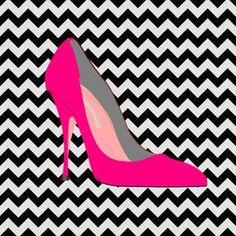 Imagem para quadrinho - plano de fundo zig zag sapato salto rosa- Blog Dikas e diy