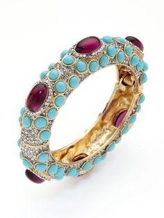 Kenneth Jay Lane Amethyst Turquoise Hinged Bangle Lila Gold C Bracelet Bracelets