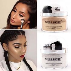 [Visit to Buy] Miss Rose Brand 2 in 1 highlighter Makeup Contour Palette Make Up Eye Loose Powder Glitter Gold Eyeshadow Makeup Palette Shimmer Bronzer, Highlighter And Bronzer, Highlighter Makeup, Contour Makeup, Eyeshadow Makeup, Contour 2, Contour Bronzer, Beauty Makeup, Makeup Brush