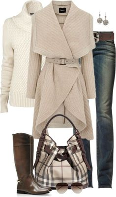 Love this casual winter outfit. The sweater cute is super cute! Purse is not my style. Mode Outfits, Casual Outfits, Fashion Outfits, Womens Fashion, Fashion Trends, Casual Wear, Fashionable Outfits, Casual Clothes, Winter Clothes