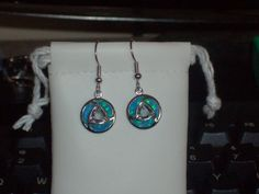 LOOK!! A PAIR OF STERLING SILVER GENUINE AUSTRALIAN BLUE FIRE OPAL AND MYSTIC RAINBOW TOPAZ EARRINGS