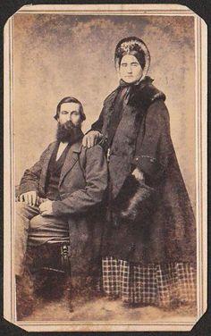 1860's winterwear | US Civil War Era Postcard Portrait LADY in FUR COAT w/ MUFF 1860s