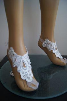 LUX Wedding White Lace Jewelry Barefoot by SpecialFabrics on Etsy