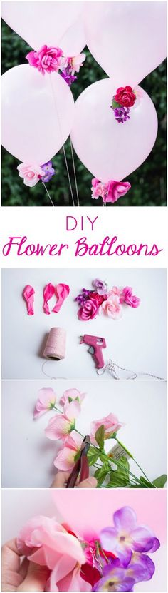 DIY Flower balloons - Combine artificial flowers with balloons for a gorgeous ef. DIY Flower balloons - Combine artificial flowers with balloons for a gorgeous effect - perfect for weddings, showers, or a garden party! Balloon Flowers, Diy Flowers, Fake Flowers, Flower Diy, Flower Types, Balloon Bouquet, Flowers Garden, Flower Making, Girl Birthday