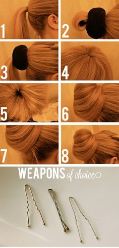 Hair sock bun. Will have to try this for work. I wear pajamas for a living so why not a sock in my hair? ;p.