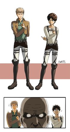 F U ~ Jean and Eren ~ Salute Characters from Attack on Titan by Barlee Attack On Titan Comic, Attack On Titan Season, Attack On Titan Ships, Attack On Titan Fanart, Anime Plus, M Anime, Fanarts Anime, Anime Characters, Mini Comic