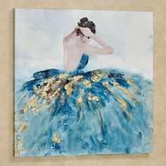 Teaching ideas 399272323219696389 - The Bella Ballerina Canvas Wall Art features a view of a woman wearing a gorgeous blue gown and adjusting her hair. Ballerina wall art has gold foil accents. Source by chichonetta Diy Canvas Art, Diy Wall Art, Acrylic Painting Canvas, Abstract Paintings, Canvas Wall Art, Contemporary Paintings, Blue Canvas Art, Portrait Paintings, Abstract Portrait