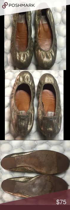 Lanvin gold tone Ballet Flats Lanvin gold tone Round Toe Scrunchy Ballet Flats. Lanvin Shoes Flats & Loafers