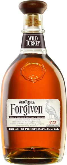 Wild Turkey Forgiven Bottled at 91 proof, this limited-edition whiskey was made from a marriage of Wild Turkey Bourbon and Wild Turkey Rye. Bourbon Whiskey, Scotch Whisky, Whiskey Distillery, Good Whiskey, Bourbon Drinks, Cigars And Whiskey, Whiskey Bottle, Irish Whiskey, Whisky Bar