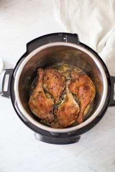 Confit duck legs with cherry sauce made in the Instant Pot Instant Pot Pressure Cooker, Pressure Cooker Recipes, Duck Leg Recipes, Cherry Sauce Recipe, Confit Duck Leg, Confit Recipes, Braised Duck, Christmas Main Dishes, Almond Chicken