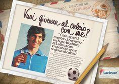"""#PaoloRossi, Campione del Mondo nel 1982, negli anni 70 invitava a """"giocare al  #calcio"""" nella réclame del  #Lattecacao Polenghi Lombardo. Segui #LacteaseVintage!"""