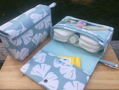 Ginkgo leaf diaper bag organizer, new parents gift, new and larger diaper clutch, nappy bag with clear zipper pouch, light blue diaper purse