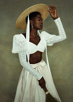 Bridal Hat, Bridal Style, Afro, Bridal Separates, Black Bride, Brown Skin Girls, Black Girl Aesthetic, Tiered Dress, Black Models