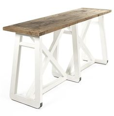 Mirabel Coastal Beach Rustic White Reclaimed Wood X Base Sofa Console Table