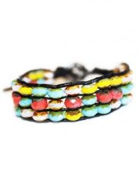 Triple strand Czech bead cuff bracelet - ideal for men and women.-Nathaniel