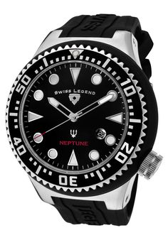 Special Offers Available Click Image Above: Swiss Legend Men's Neptune Black Dial Black Textured Rubber Watch Rubber Watches, Seiko, Bulova, Black Stainless Steel, Black Rubber, Watches For Men, Wrist Watches, Men's Watches, Quartz