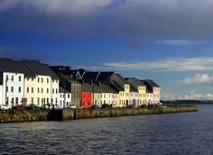 Beach front houses at Galway Harbor, Ireland
